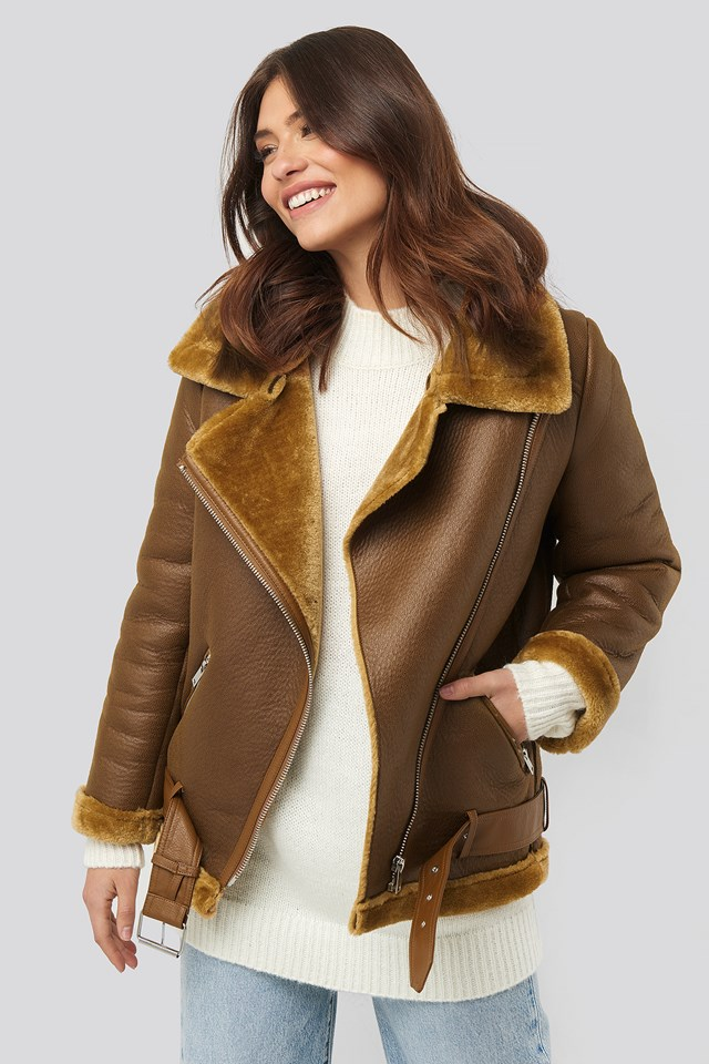Bonded Aviator Jacket Brown