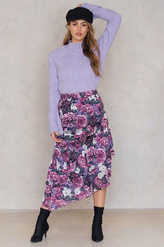 Bottom Frill Satin Midi Skirt Purple Flower