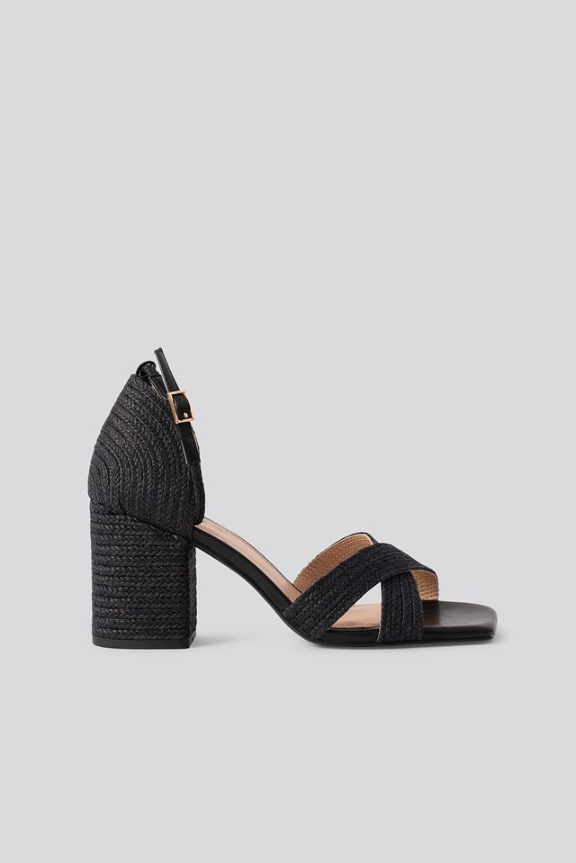 Braided Raffia Heels Black