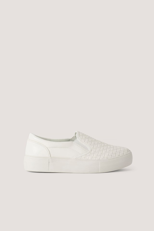 White Braided Slip In Trainers