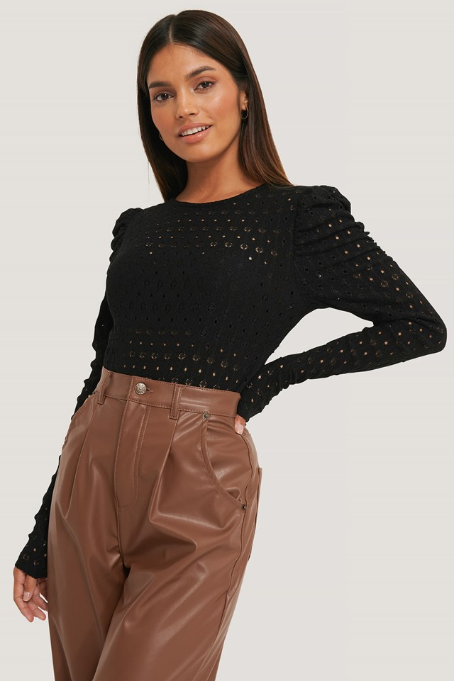 Broderie Anglaise Puff Sleeve Top Black