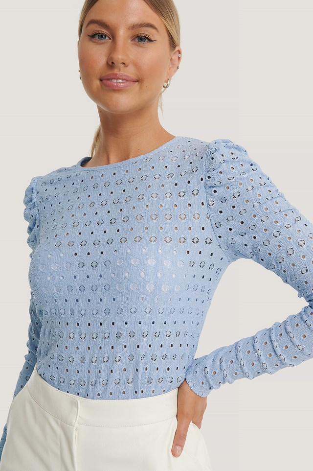 Broderie Anglaise Puff Sleeve Top Blue