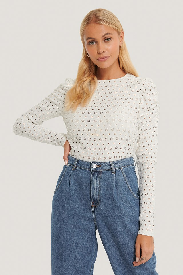 White Broderie Anglaise Puff Sleeve Top