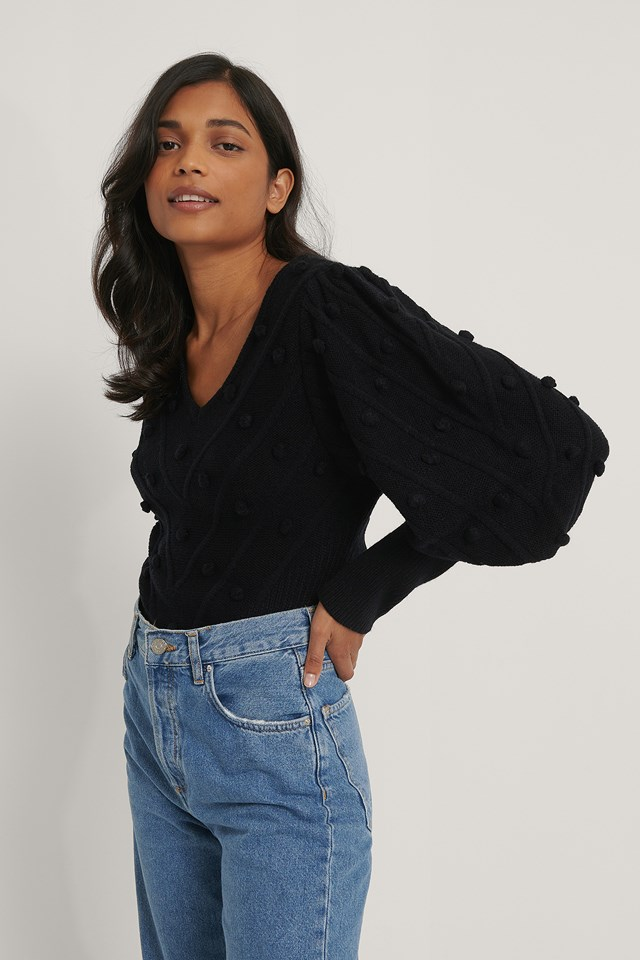 Black Bubble Detail Balloon Knitted Sweater