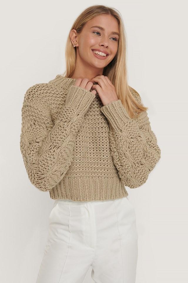 Bubble Sleeve Knitted Sweater Beige