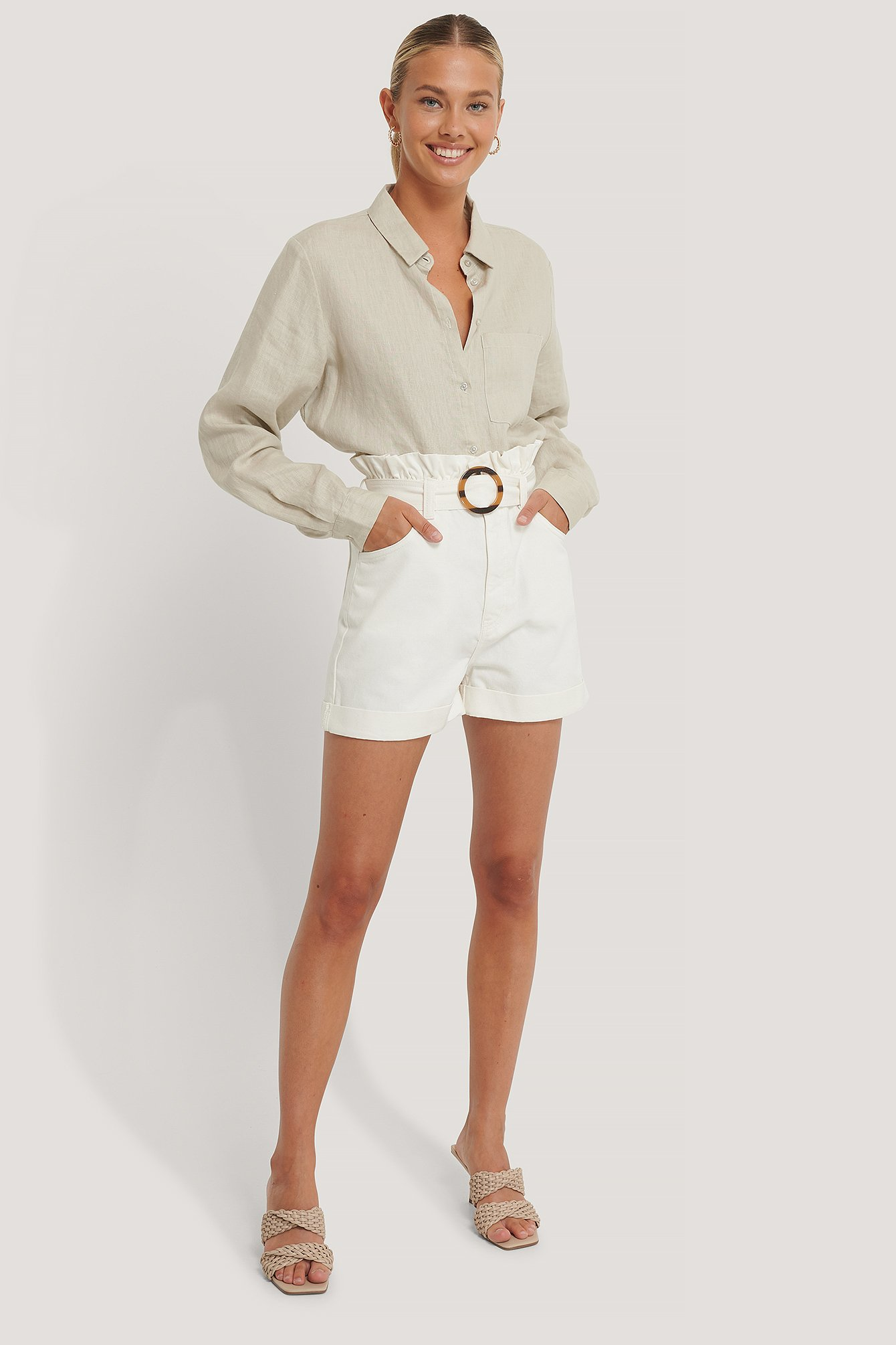 Offwhite Buckle Belt Denim Shorts