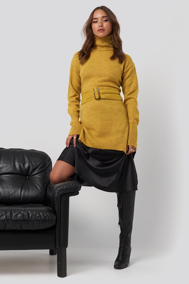 Buckle Belt Knitted Sweater Mustard