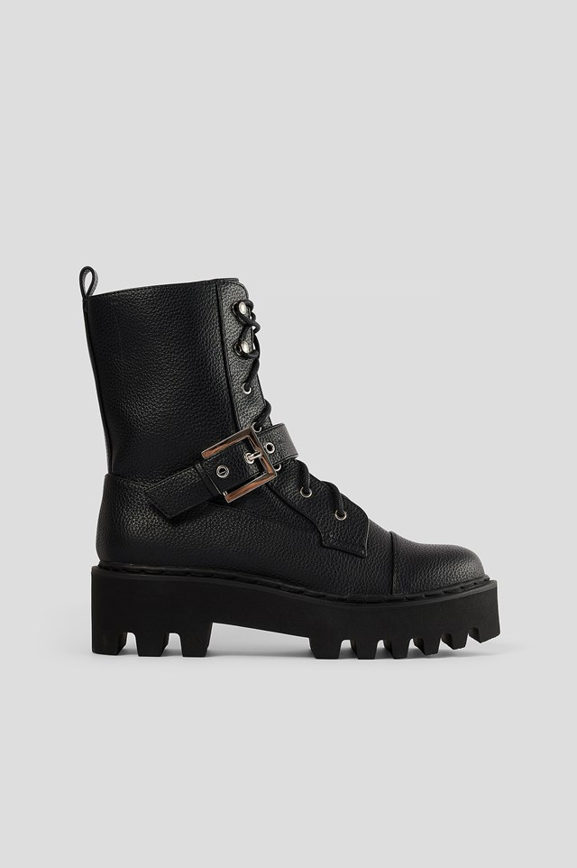 Black Buckled Combat Boots