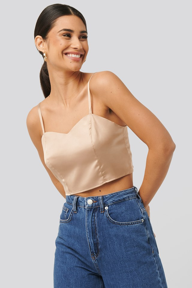 Bust Detail Cropped Top Gold