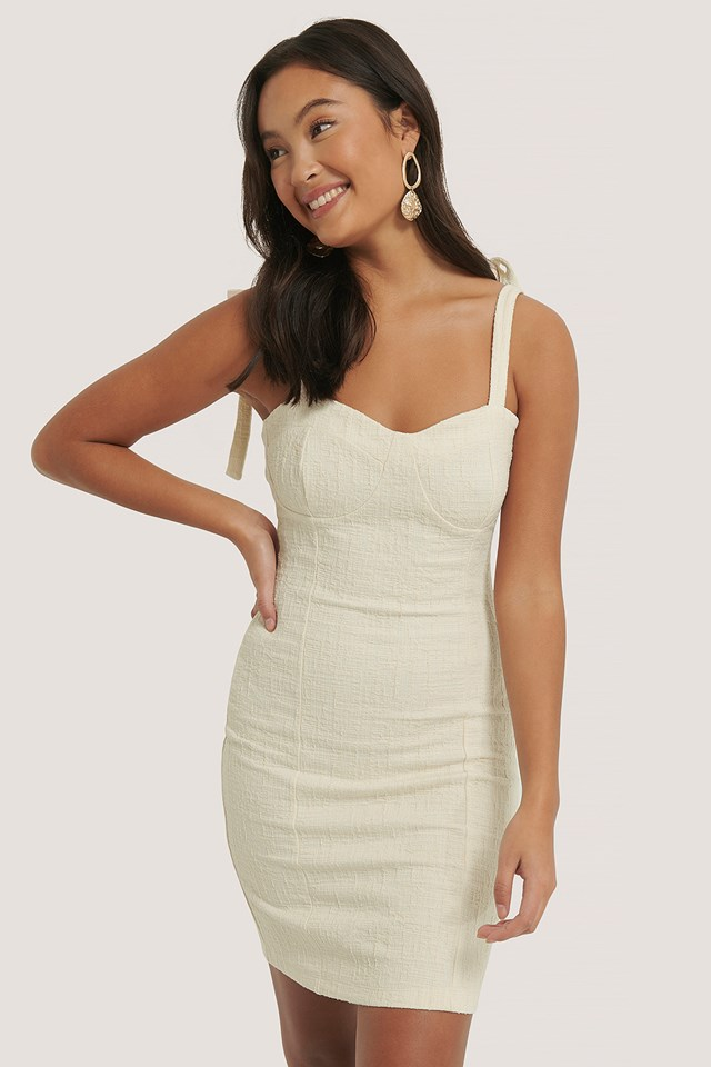 Bustier Knot Dress Beige