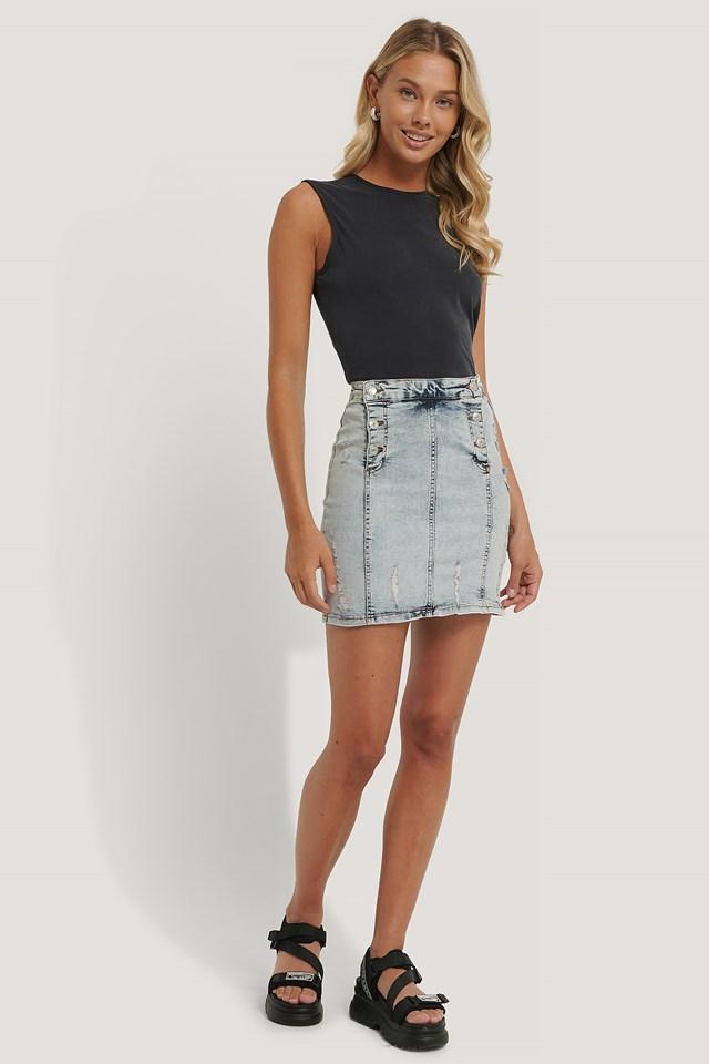 Light Blue Button Detail Denim Skirt