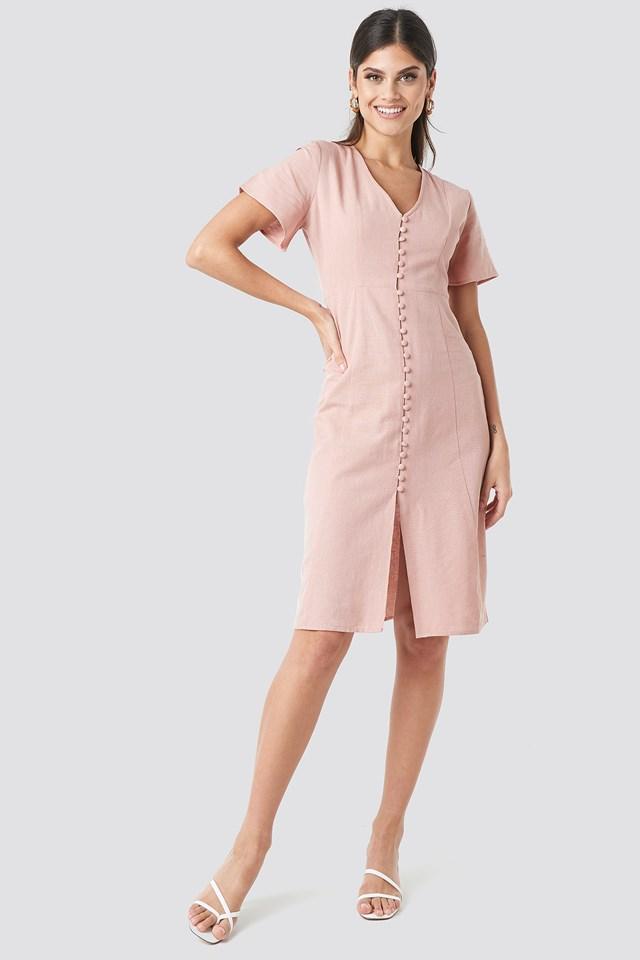 Button Front Linen-blend Dress Dusty Pink