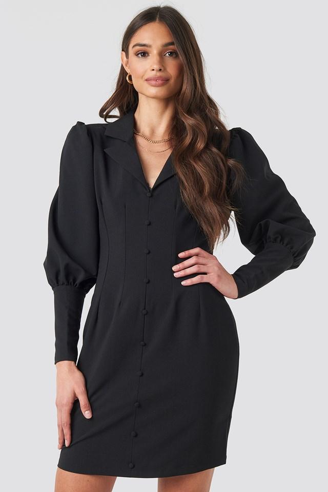 Black Button Front Mini Dress