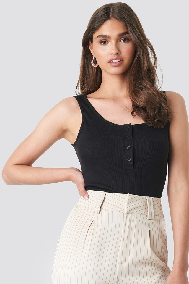Button Front Tank Top Black