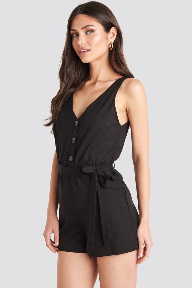 Button Front Tie Waist Playsuit Black