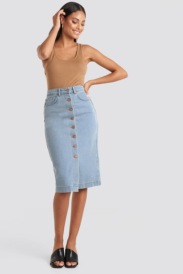 Light Blue Button Up Denim Midi Skirt