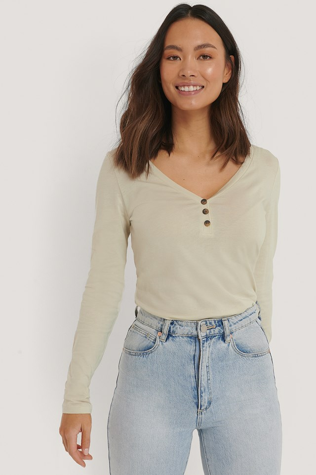 Button Up Longsleeve Dusty Light Beige