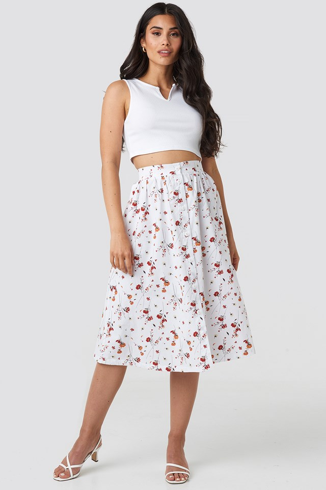 Floral Print Button Up Midi Skirt