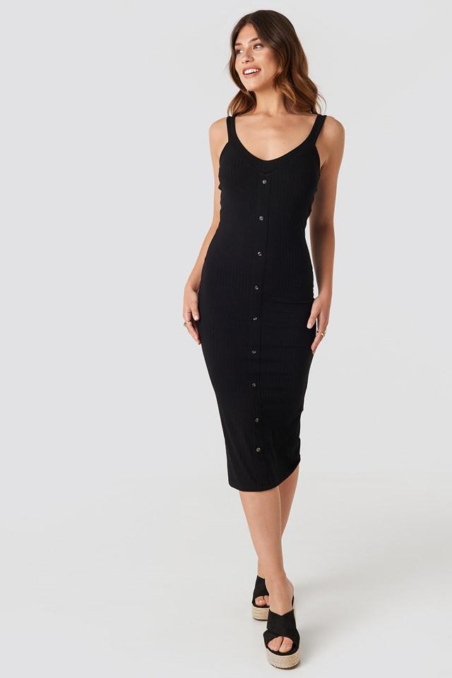 Button Up Ribbed Midi Dress Black