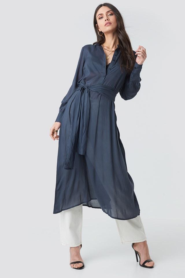 Blue Button Up Tie Waist Dress