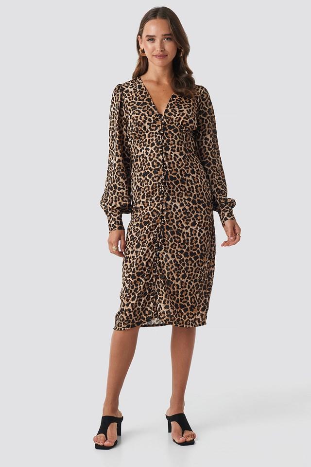 Leoprint Buttoned Front V-Neck Dress