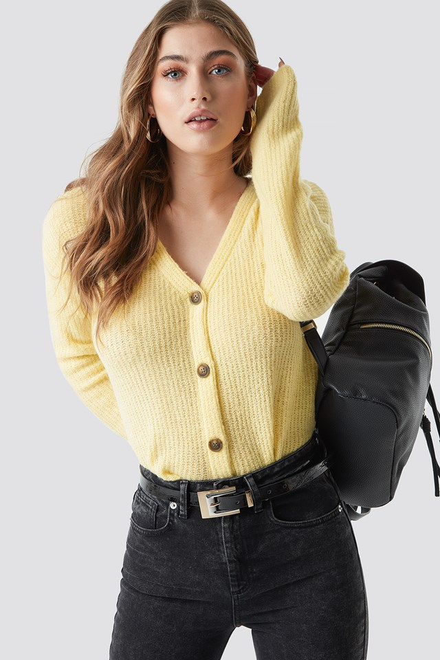 Buttoned Knitted Cardigan Yellow