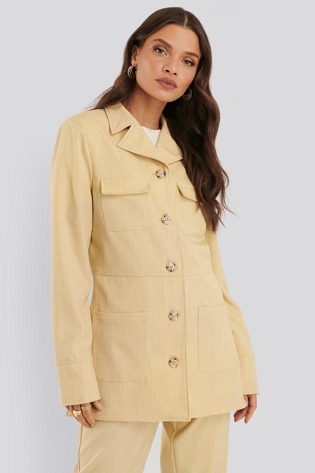 Buttoned Pocket Blazer Dusty Light Yellow