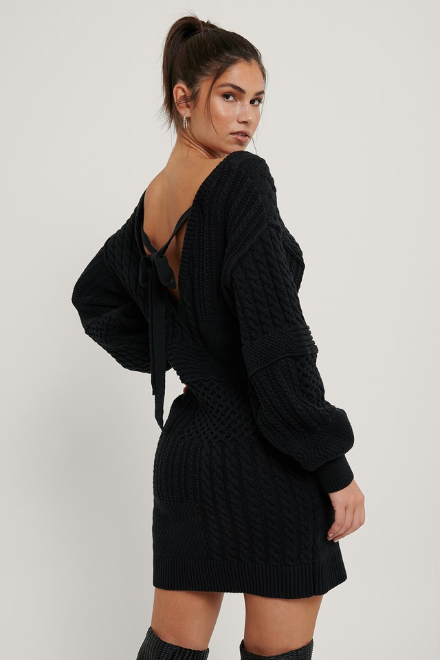 Organic Cable Knitted Deep Back Long Sweater Black