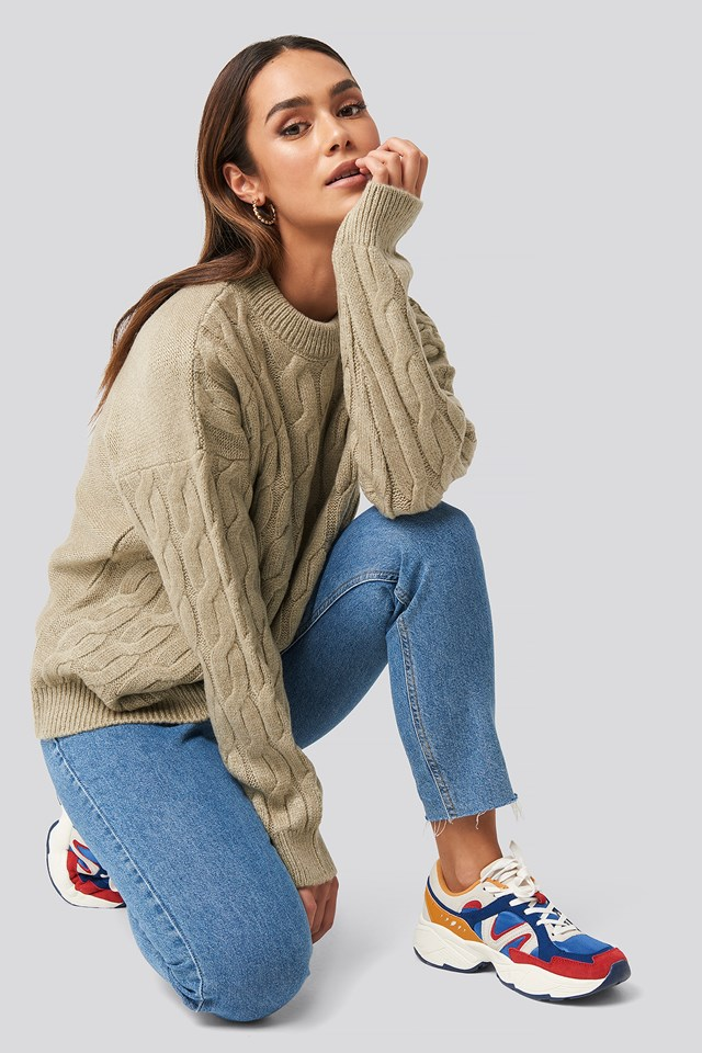 Cable Knitted Oversized Sweater Beige