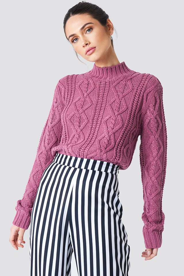 Cable Knitted Sweater Purple Rose