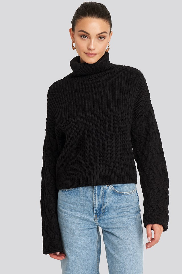 Black Cable Sleeve High Neck Sweater