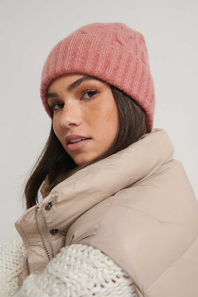 Cableknit Beanie Dusty Rose