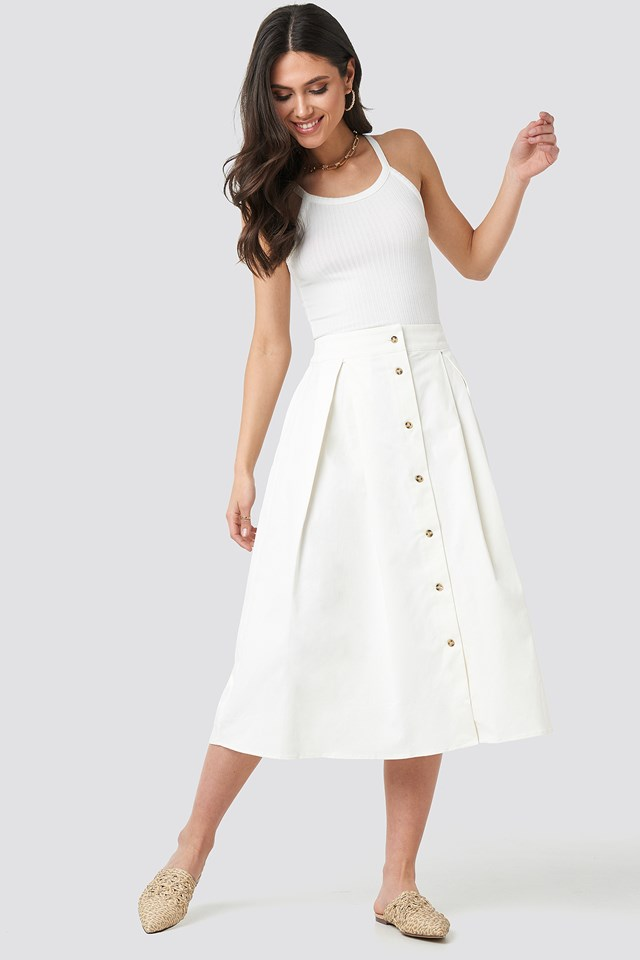 Cargo A-line Ankle Skirt Offwhite