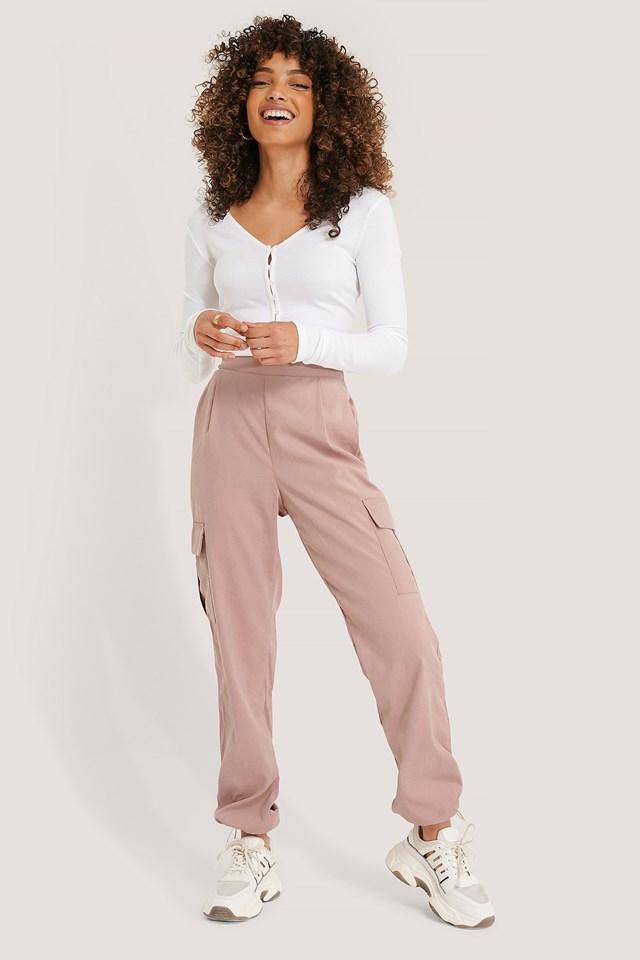 Dusty Pink Cargo Drawstring Pants