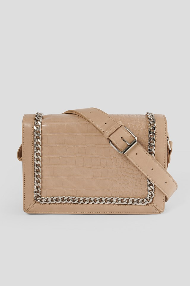 Chain Detail Croc Bag Natural