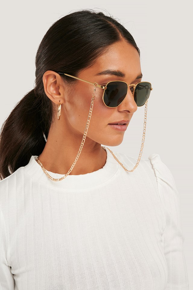 Chain Detailed Metal Frame Sunglasses Gold