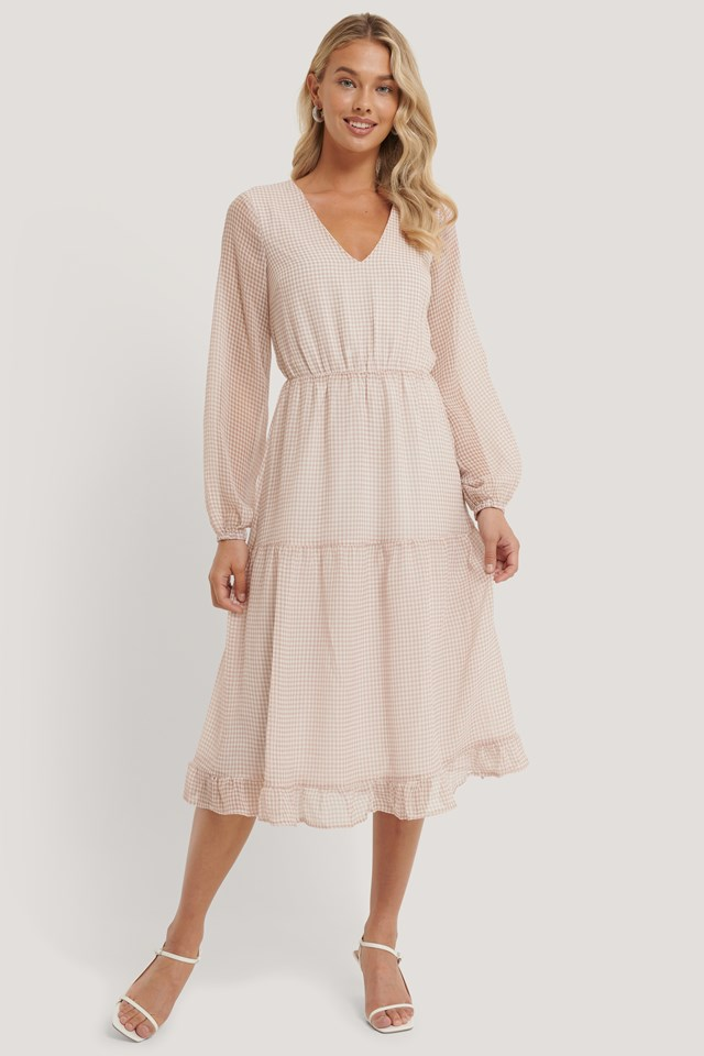 Check Shirred Dress Dusty Pink