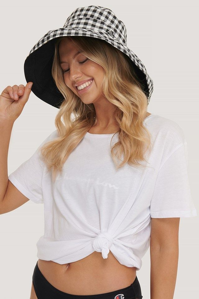 Checked Oversize Bucket Hat Black/White