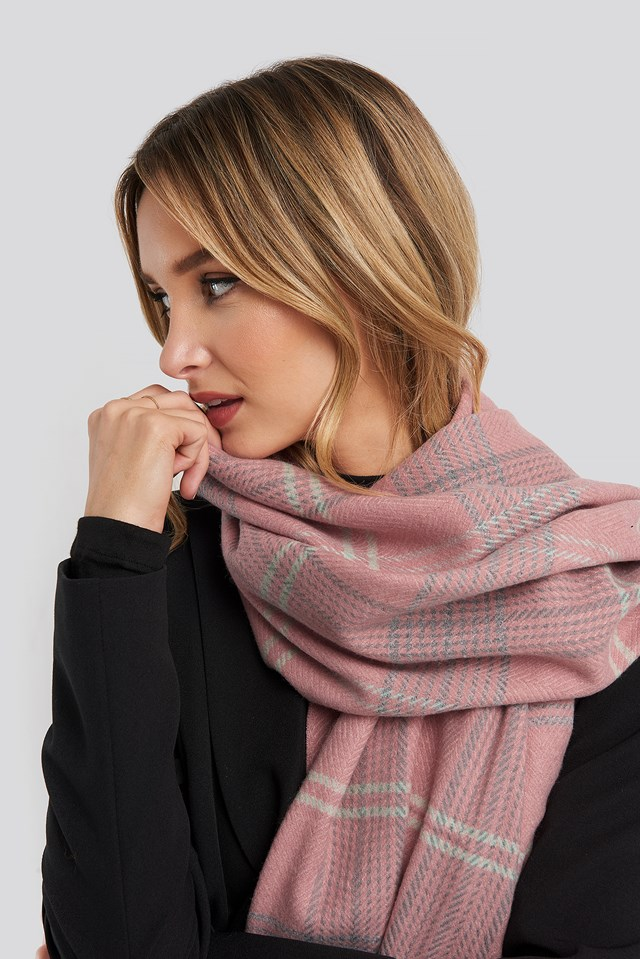 Checked Soft Scarf Pink