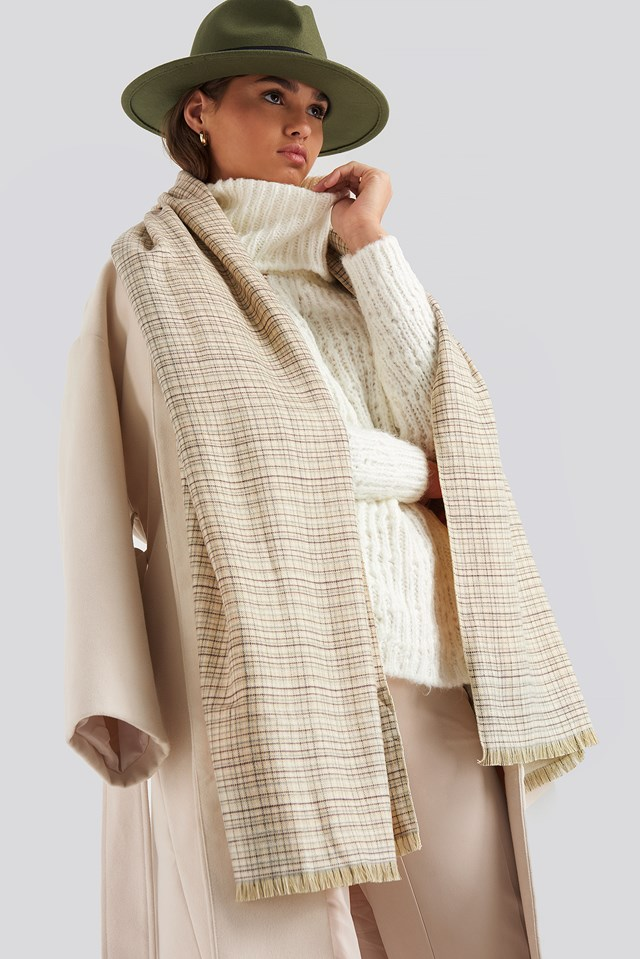 Fine Checked Soft Scarf Cream
