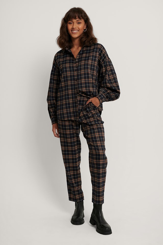 Blue Check Checkered Suit Pants