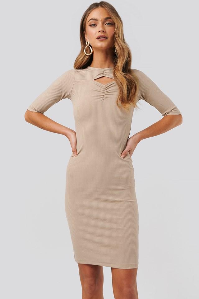 Beige Chest Detail Dress