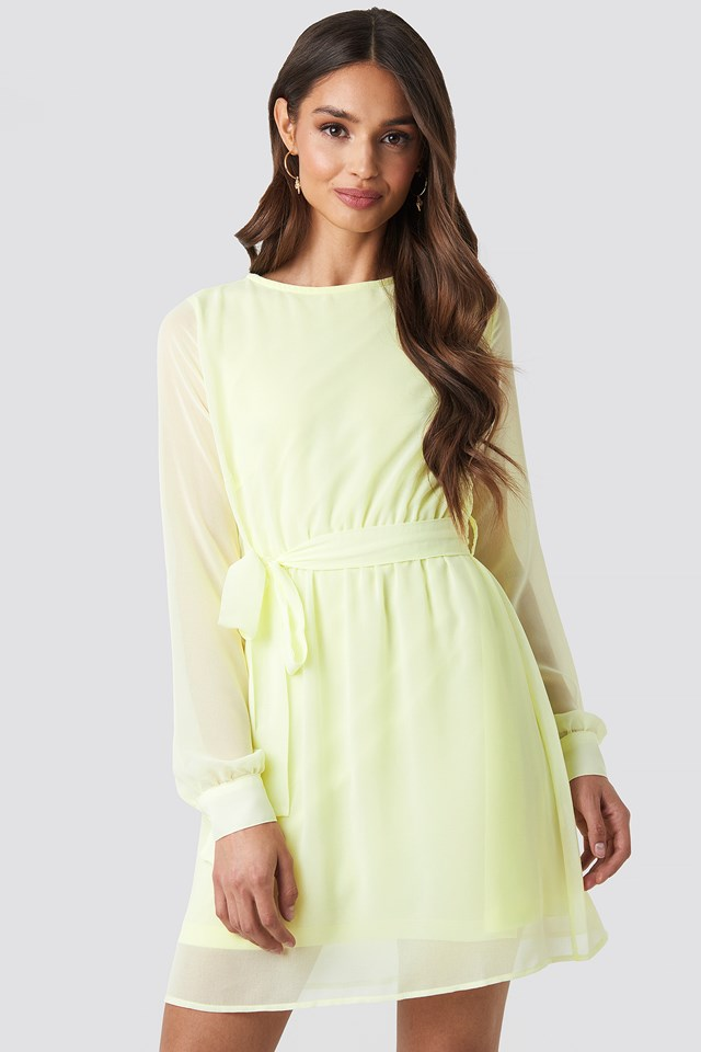Pale Yellow Chiffon Dress