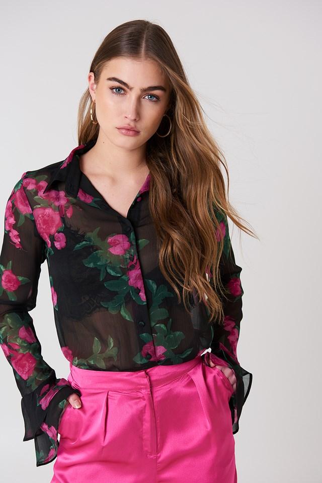Chiffon Frill Sleeve Shirt Black/Pink Flower Print