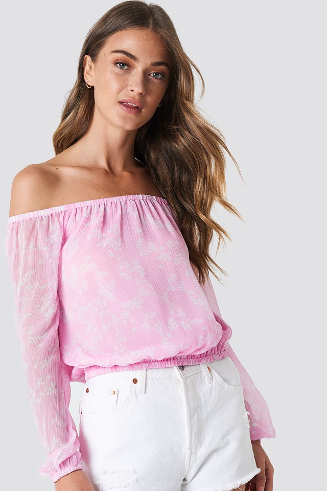 Chiffon Off Shoulder Blouse Pink/White Blossom
