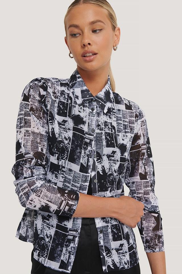 Chiffon Shirt Pattern Print BW