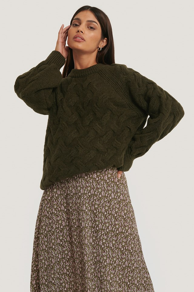 Chunky Cable Knitted Sweater Dark Green