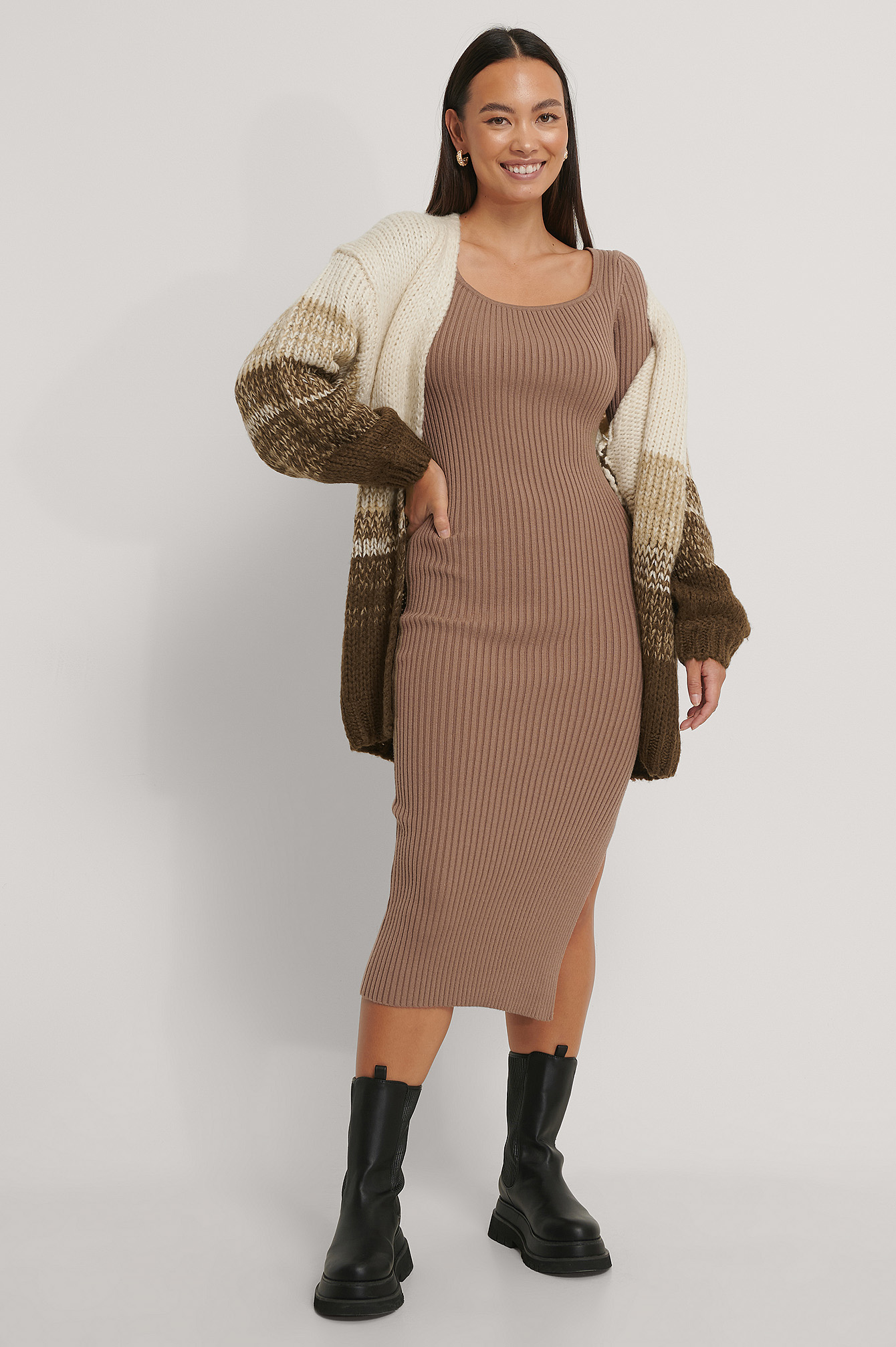 Brown Chunky Knit Cardigan