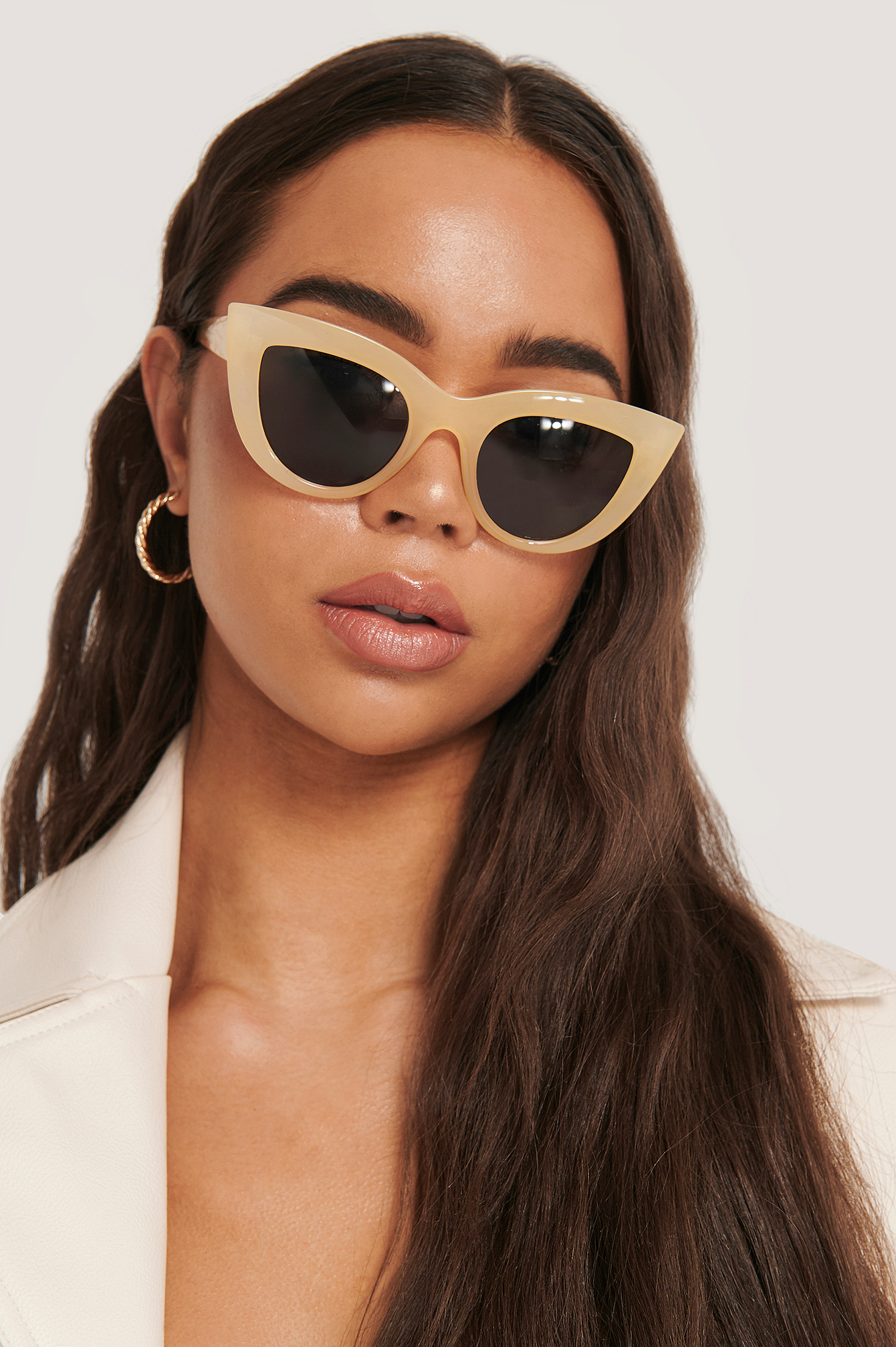 Beige Chunky Pointy Cat Eye Sunglasses