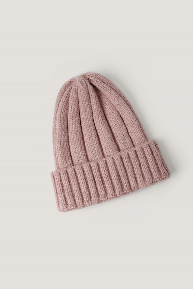 Chunky Ribbed Beanie Dusty Pink